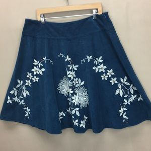 Talbots Blue Cordurory A-Line Skirt Beaded Floral